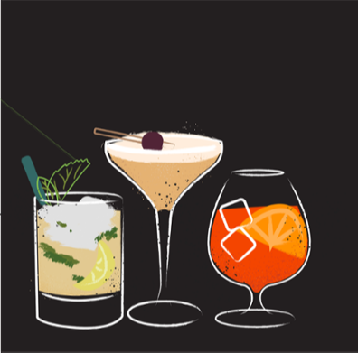 three colorful illustrated cocktails lined up on black background