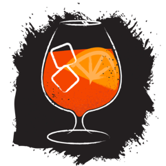 Orange cocktail illustration on black background with orange slice and ice cubes