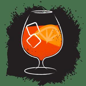 Illustration of aperol spritz cocktail