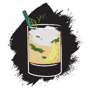 Illustration of whiskey smash cocktail