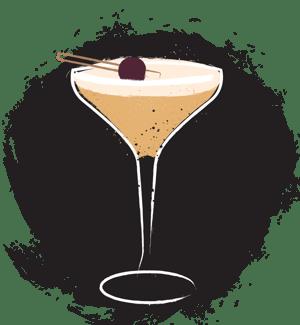 Illustration whiskey sour egg white cocktail