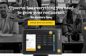 Homepage of website for restaurant point of sale provider Upserve
