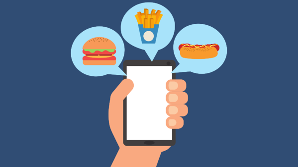 Illustration on blue background of a hand holding a phone with bubbles of food