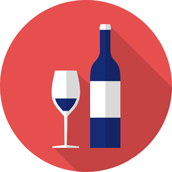 Illustration of blue wine glass and bottle on red background