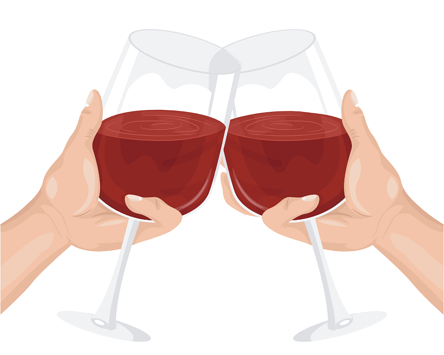 Illustration of two hands tapping two red wine glasses together