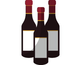 Illustration of three wine bottles lined up in the shape of a triangle