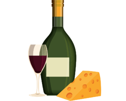 Illustration of wine glass and bottle next to a chunk of cheese