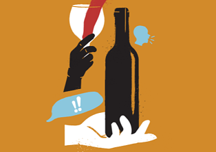 Wine Trends 2020 Illustration of a hand holding a wine glass with red wine being poured into it next to the outline of a wine bottle orange background
