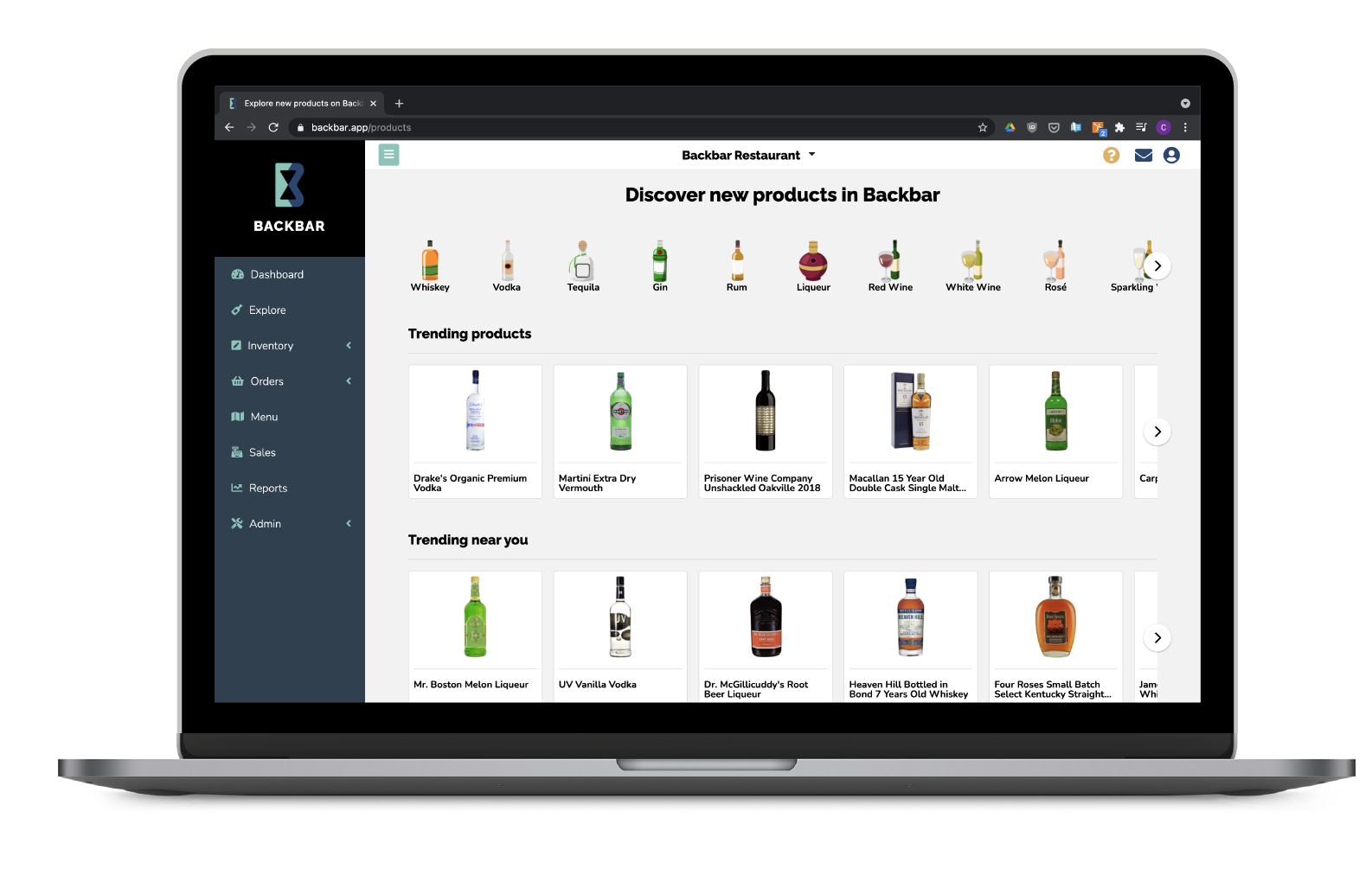Product Discovery Page on Laptop