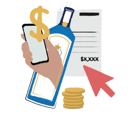 Illustration of hand holding a phone near a liquor bottle and invoice with money signs