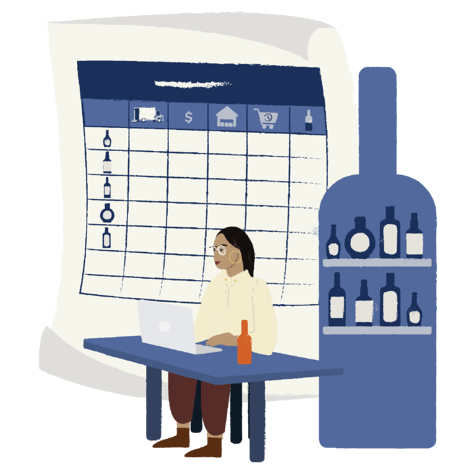 Illustration of woman sitting at desk with her laptop and a large drawing of a spreadsheet and wine bottle behind her