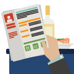 Illustration of manager's hand holding a colorful resume