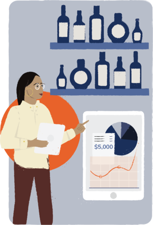Illustration of woman taking inventory and looking at a graph