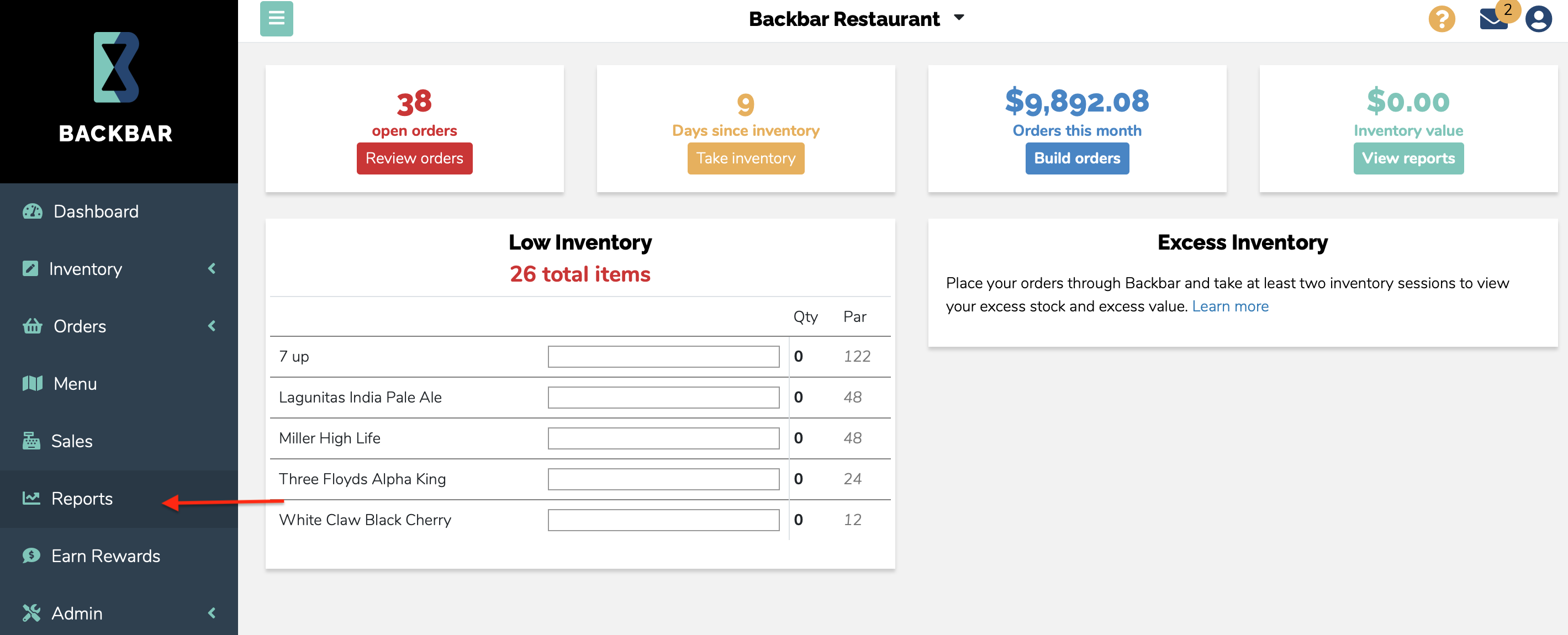Screenshot of Backbar's inventory home page