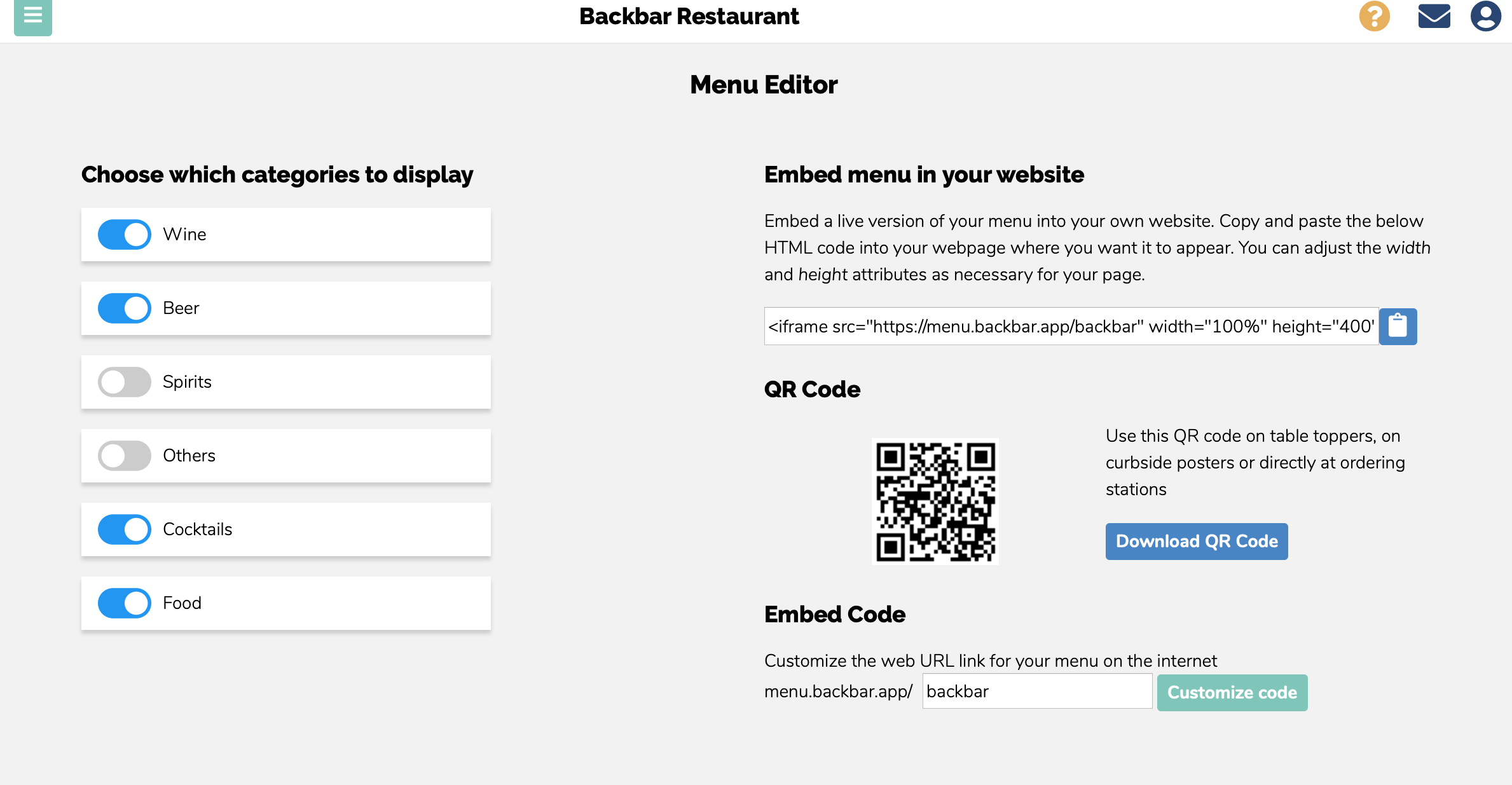 Screenshot of Backbar's QR code page