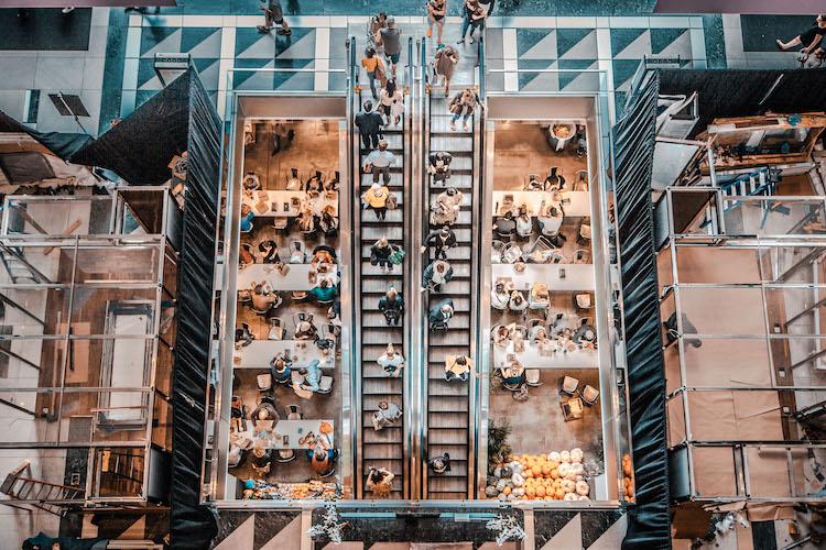 Aerial shot of busy restaurant market full of customers