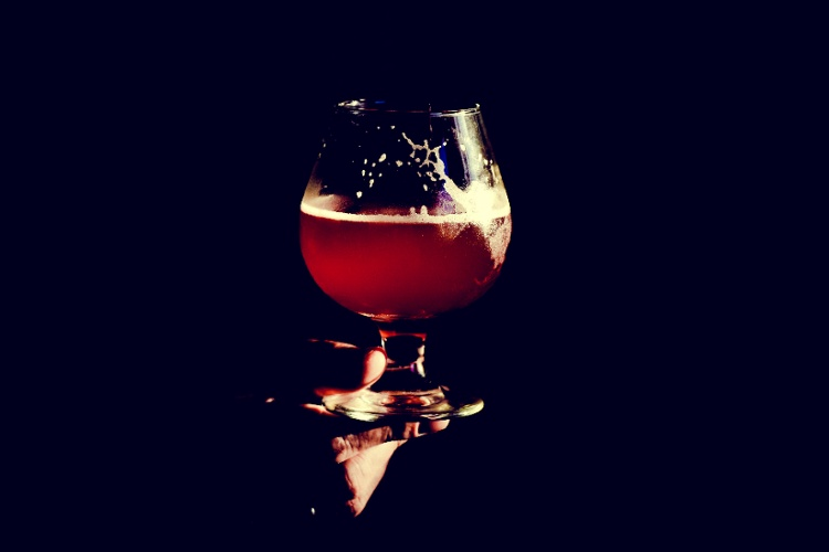 Solo Beer Glass Half Full Being Held By Bartender in a Tulip Glass-1
