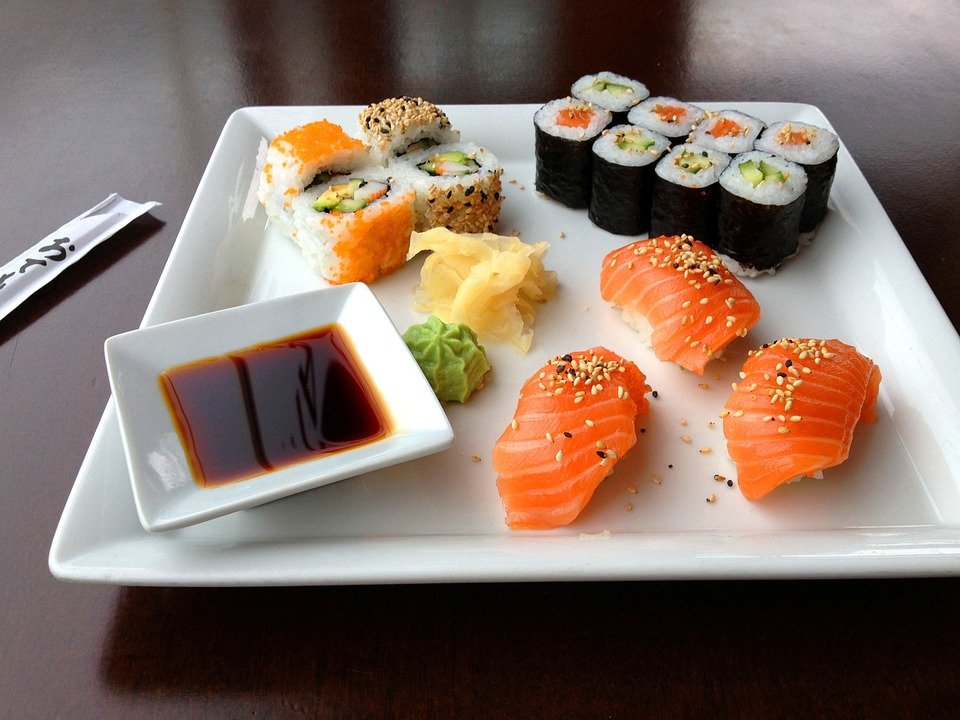 Sushi Platter with salmon sushi soy sauce and chopsticks