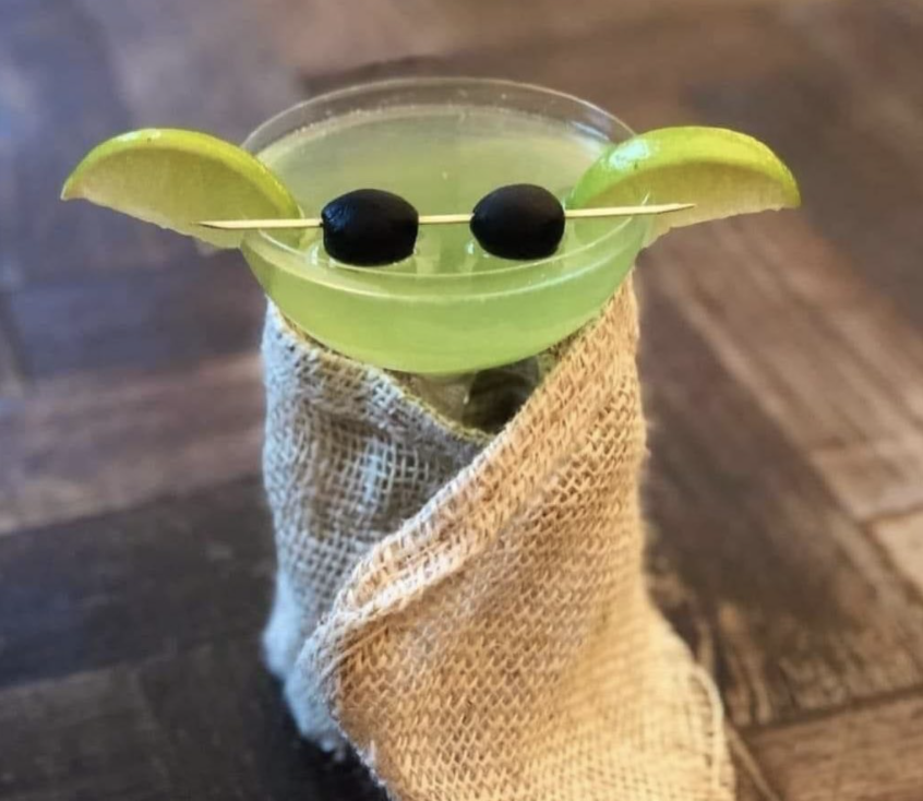 Baby yoda martini cocktail