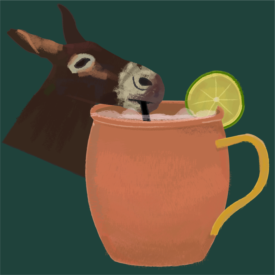 A mule drinking a Moscow mule